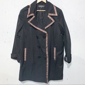 Plus Size Addition Elle Black Snakeskin Trench Coat Button Up